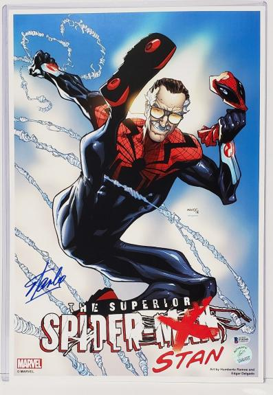 """STAN LEE Signed Autographed Marvel """"Spider-Stan"""" 12x18 PRINT Beckett BAS #F10346"""