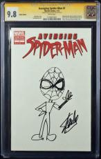Stan Lee Signed Avenging Spider-man Comic W/hand Drawn Spidey Sketch Psa/dna Cgc