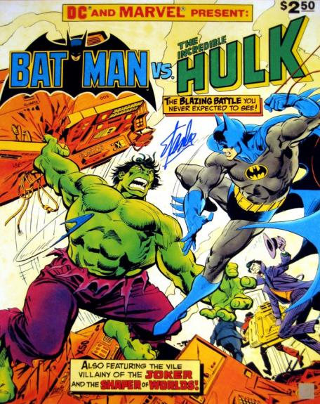 Stan Lee Signed Batman vs Incredible Hulk 16x20 Photo