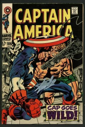Stan Lee Signed Captain America #106 Comic Book Cap Goes Wild! PSA/DNA #W18638