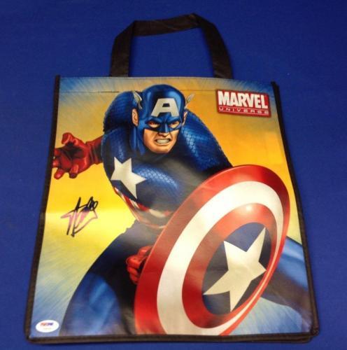 "Stan Lee signed Captain America 13"" X 15"" Handbag PSA/DNA  # X08058"