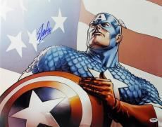 Stan Lee Signed Captain America 16X20 Photo Marvel Comics PSA/DNA 1