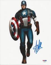 Stan Lee signed Captain America 8X10 PSA/DNA # X08607
