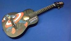 Stan Lee signed Captain America Marvel Acoustic Guitar PSADNA Cert # X72456