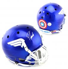 Stan Lee Signed Custom Captain America Blue Schutt Full Size Helmet