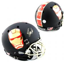 Stan Lee Signed Custom Iron Man Black Schutt Full Size Helmet