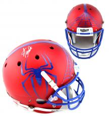 Stan Lee Signed Custom Spider-Man Red Schutt Full Size Helmet