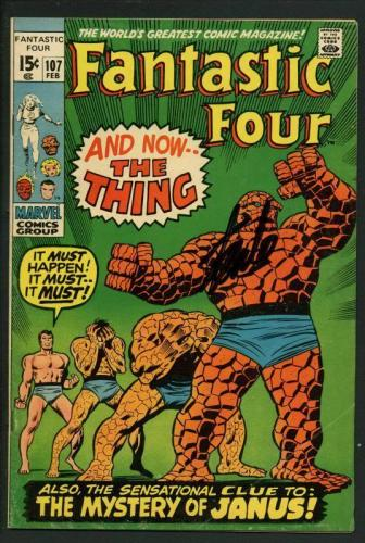 Stan Lee Signed Fantastic Four #107 Comic Book The Thing/Janus PSA/DNA #W18857