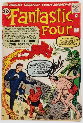 Stan Lee Signed Fantastic Four #6 Comic Book 2Nd Doom Auto Graded 10! PSA V07976