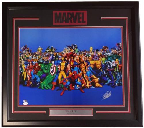 Stan Lee Signed Framed 16x20 Marvel Characters Photo JSA