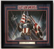 Stan Lee Signed Framed Marvel 16x20 Captain America Stan Lee Hologram