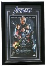 Stan Lee Signed Framed Marvel Avengers Movie Poster 11x17 Photo JSA