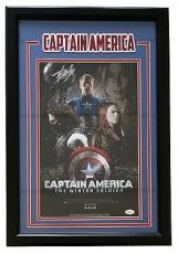 Stan Lee Signed Framed Marvel Captain America Movie Poster 11x17 Photo JSA