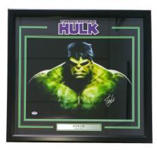 Stan Lee  Signed Framed Marvel Comics 16x20 Incredible Hulk Photo PSA