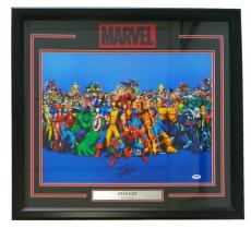 Stan Lee  Signed Framed Marvel Comics 16x20 Marvel Characters Photo PSA