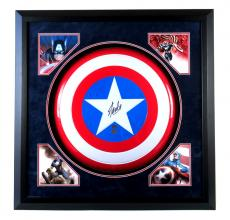 Stan Lee Signed Framed Vintage Metal Captain America Shield with Deluxe Matte