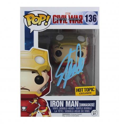 Stan Lee Signed Funko Pop! Marvel Iron Man Civil War #136 Action Figure - Blue ink