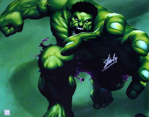 Stan Lee Signed Incredible Hulk 16x20 Photo