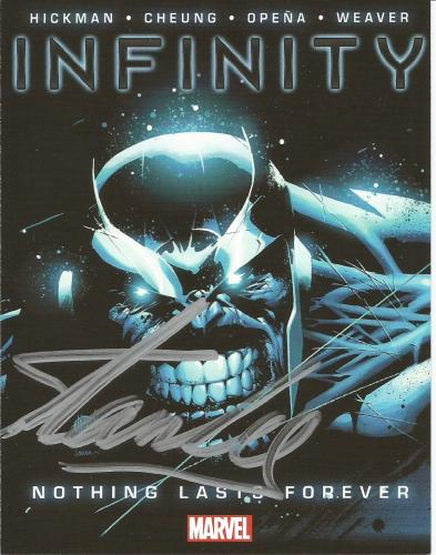Stan Lee Signed INFINITY #1 4x6 Marvel Comics Promotional Card