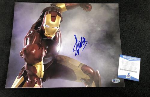 Stan Lee Signed Iron Man Movie 11x14 Photo Beckett Authenticated Marvel Avengers