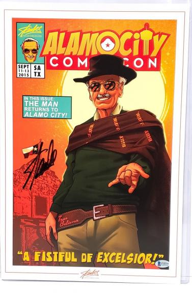 "STAN LEE Signed Marvel ""A Fistful Of Excelsior"" 12x18 PRINT Beckett BAS #F10339"