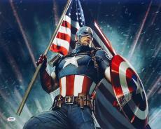 Stan Lee Signed Marvel Captain America 16x20 Photo PSA