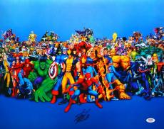 Stan Lee Signed Marvel Characters Collage 16x20 Photo PSA