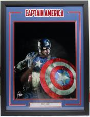 Stan Lee Signed Marvel Comics Captain America 16x20 Photo Framed Psa/dna Ac32225