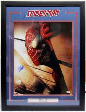 """Stan Lee Signed Marvel Comics """"spider-man"""" 16x20 Photo Framed Psa/dna #ac32362"""