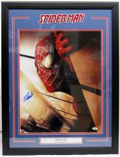 """Stan Lee Signed Marvel Comics """"spider-man"""" 16x20 Photo Framed Psa/dna #ac32363"""