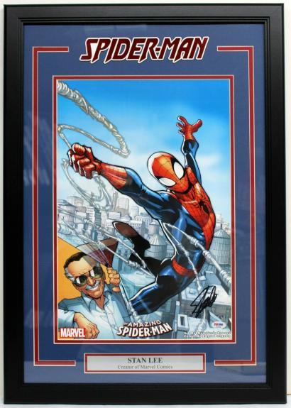 """STAN LEE SIGNED MARVEL COMICS """"SPIDER-MAN"""" FRAMED 13x19 PRINT PSA/DNA #AE40358"""