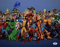 Stan Lee Signed Marvel Comics Universe Cast 11X14 Blue Photo PSA/DNA