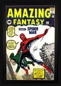 Stan Lee Signed Marvel Spider-Man Amazing Fantasy Framed Full Size Poster