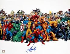 Stan Lee Signed Marvel Super Heroes Cast 16x20