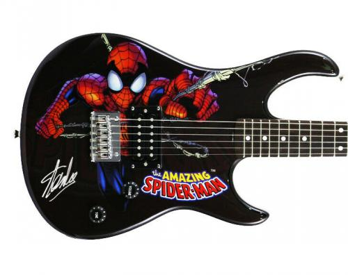 Stan Lee Signed Peavey Rockmaster Marvel Spiderman Guitar W/ Stan Lee Holo & PSA