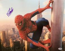 "STAN LEE signed ""Spiderman Clinging to Pole"" 16x20 photo-PSA/DNA"