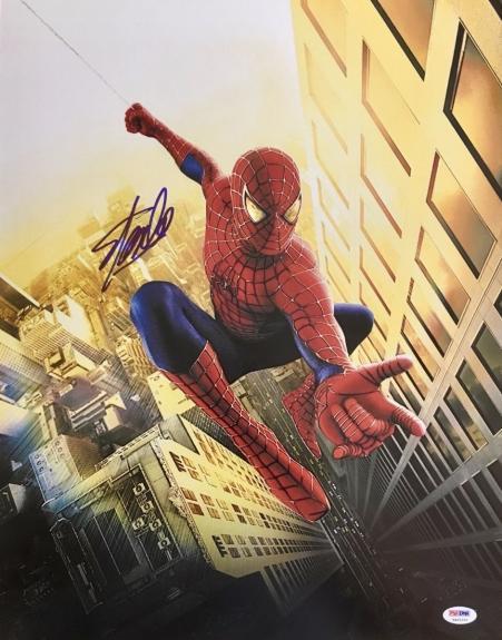 "STAN LEE signed ""Spiderman Swinging Between Buildings"" 16x20 photo-PSA/DNA"