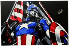 Stan Lee Signed Stretched Captain America Original Painting 36x24 By Geo Thomson