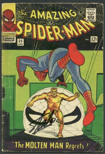 Stan Lee Signed The Amazing Spider-Man #35 Comic Book Molten Man PSA #6A20960