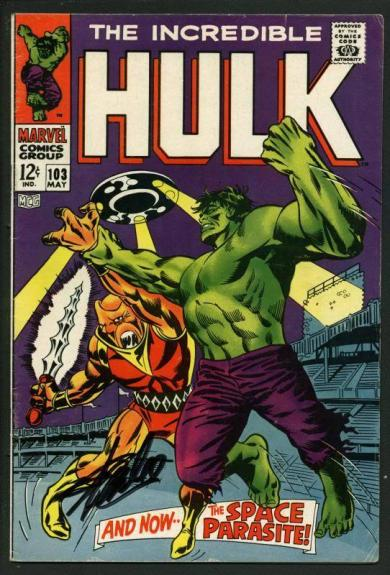 Stan Lee Signed The Incredible Hulk #103 Comic Book Space Parasite PSA #W18863