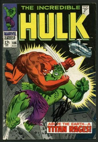 Stan Lee Signed The Incredible Hulk #106 Comic Book A Titan Rages PSA #W18792