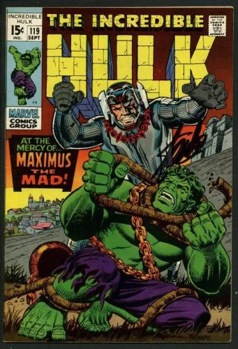 Stan Lee Signed The Incredible Hulk #119 Comic Book Maximus The Mad PSA #W18860