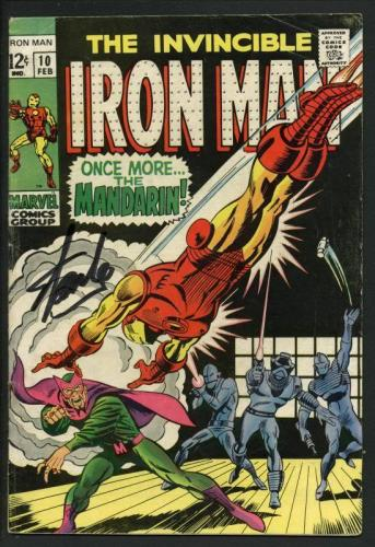 Stan Lee Signed The Invincible Iron Man  #10 Comic Book The Madarin PSA #W18816