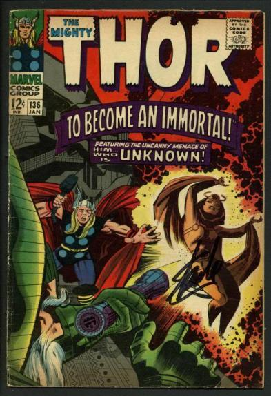 Stan Lee Signed The Mighty Thor #136 Comic Book To Become An Immortal PSA W18689