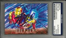 Stan Lee Signed Upper Deck Marvel Iron Man 3 #d 1/1 ORIGINAL SKETCH Card PSA/DNA