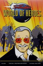 Stan Lee Signed World Of Heroes 11x17 Photo PSA/DNA X82070 Auto Autograph Marvel
