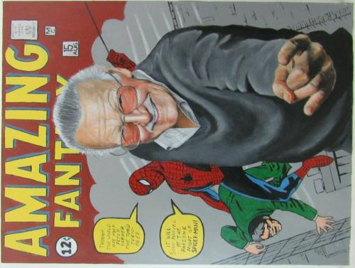 Stan Lee & Spider-Man Acrylic Paint Print on 30x40 inch Comic Book Canvas 139964