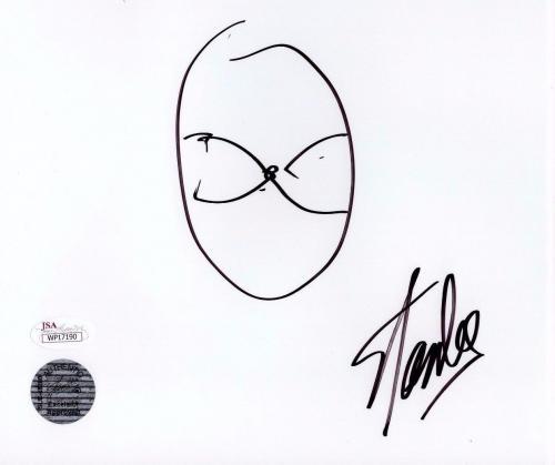 Stan Lee Spider man Authentic Quick Sketch 7x8 Autograph White Paper JSA WP17190