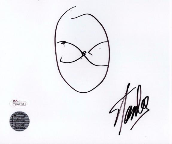 Stan Lee Spider man Authentic Quick Sketch 7x8 Autograph White Paper JSA WP17190