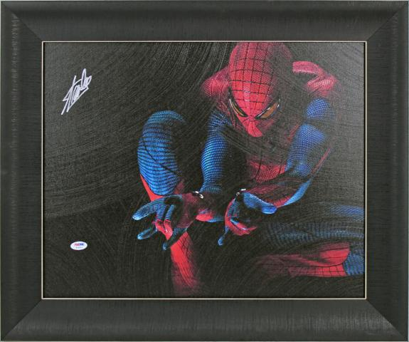 Stan Lee Spider-Man Signed 16x20 Framed Canvas PSA/DNA #W18510